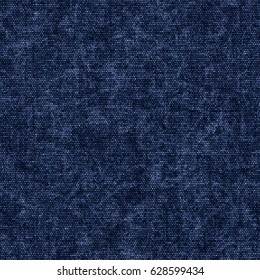 Abstract indigo dyed chambray fabric textured background. Seamless pattern.