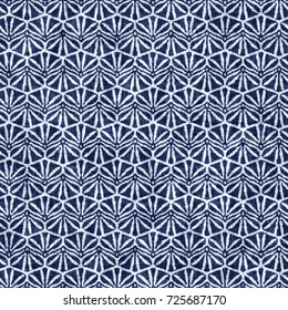 Abstract indigo dyed floral motif. Seamless pattern.