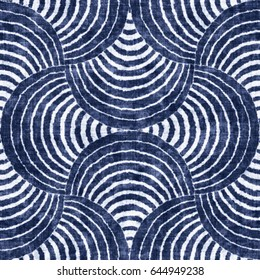 Abstract indigo-dyed striped petaled background. Seamless pattern.