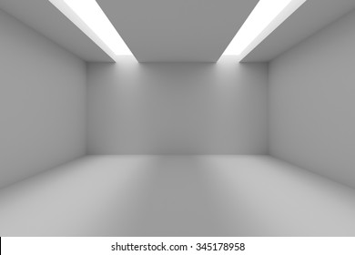 Abstract industrial architecture interior: empty room with white walls, floor and ceiling and with opening in ceiling for lighting, 3d illustration