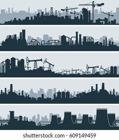 Abstract Industrial Skyline, Urban Simplicity Cityscape, Ordinary Power Plant. Panoramic Seamless Banners Set