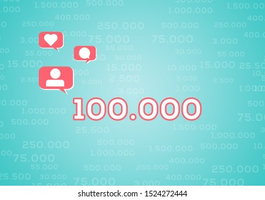 Abstract Influencer Background with number 100.000 Followers Celebration and Social Media Icons