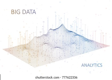 Abstract infographics visualization. Big data code representation. Futuristic network or business analytics. Graphic concept for your design, 3d Illustration