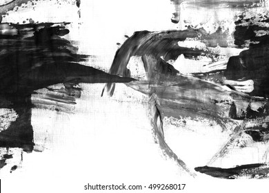 Abstract ink background. Marble style. Black and white paint stroke texture. Macro image of spackling paste. Artistic wallpaper for web and game design. Drywall mud art. Painterly plaster on paper