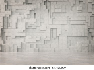 Abstract interior with a 3D wall pattern
