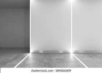 Abstract interior background with polished concrete floor, corner of white matte wall and LED stripes illumination, 3d rendering illustration
