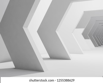 Abstract interior background, white corridor with hexagonal design elements. 3d render illustration