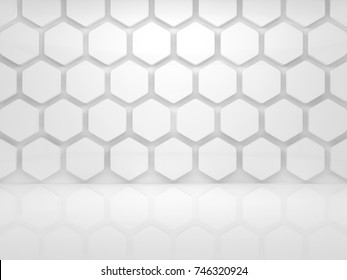 Abstract interior background with white honeycomb installation on the wall, 3d render illustration
