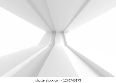 Abstract Interior Background. White Room with Windows. 3d Rendering