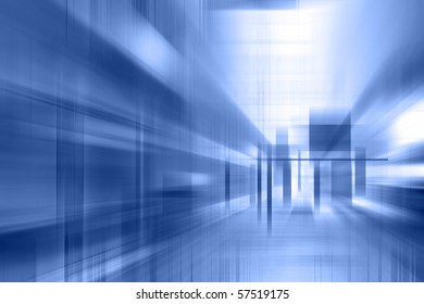 Abstract interior in blue. abstraction.