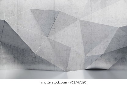 abstract interior concrete wall with polygonal pattern 3D illustration