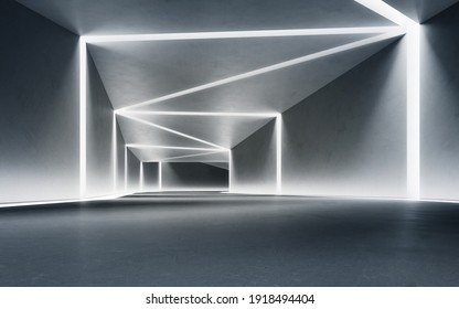 Abstract interior design 3D rendering of modern showroom. Empty floor for car park and concrete corridor background.