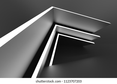 Abstract Interior Design. Black Modern Background. 3d Illustration of Modern Architecture Concept