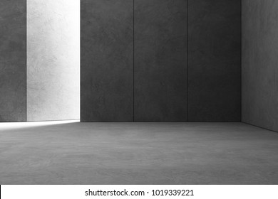 Abstract interior design of modern showroom with empty gray concrete floor and dark wall background - Hall or stage 3d illustration