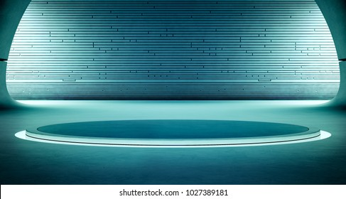 Abstract interior design of modern showroom with empty dark floor and blue wall background, Podium for product display in future architecture or spaceship - Grunge stage 3d illustration
