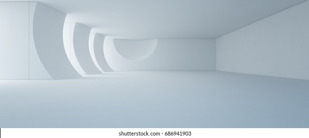 Abstract interior design of modern white showroom with empty floor and concrete wall background - Stage 3d rendering