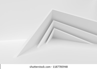 Abstract Interior Design. White Modern Background. 3d Illustration of Modern Architecture Concept