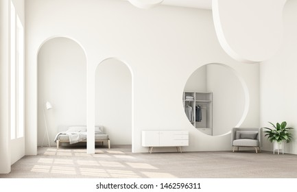 Abstract interior design.living area and bedroom with architectural elements in white tone, circular arc, round opening and concrete floor.3d rendering
