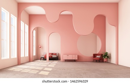 Abstract interior design.living area and bedroom with architectural elements in pink tone, circular arc, round opening and concrete floor.3d rendering