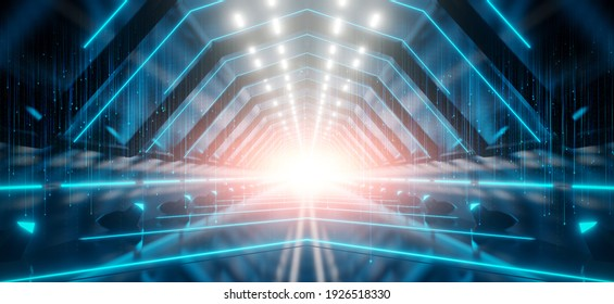 Abstract interior sci-fi spaceship corridors. futuristic design spaceship interior in blue background. 3d rendering.