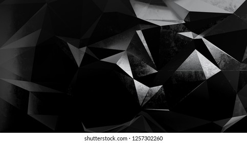 Abstract interior wall with triangle polygonal. 3D illustration