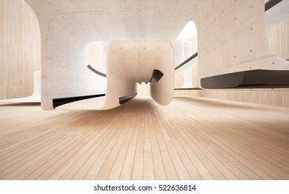 Abstract interior of wood, concrete sculpture with black glass. 3D illustration and rendering