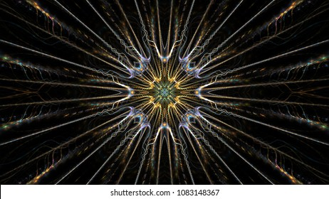 Abstract intricate symmetrical blue and gold ornament. Fantastic fractal mandala. Psychedelic digital art. 3d rendering.