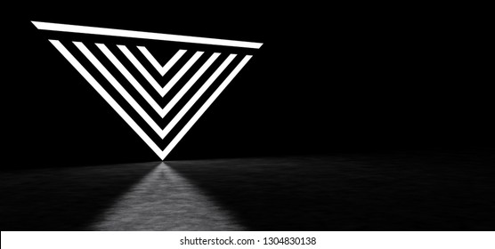 Abstract inverted pyramid consisting of luminous stripes. 3D Render