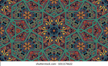 Abstract islamic pattern in arabian style. Seamless background. Seamless hand painted watercolor traditional arabic geometric pattern, east ornament, indian water color ornament, persian motif, 3D.