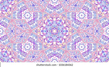 Abstract islamic pattern in arabian style. Seamless background. Seamless hand painted watercolor traditional arabic geometric pattern. Textile, bandana, bed linen, clothes, bedclothes print.