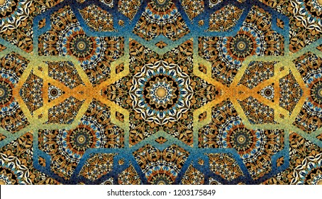 Abstract islamic pattern, arabian style. Seamless background. Hand painted watercolor traditional arabic geometric pattern, east ornament, indian water color painting, persian batik design, boho motif