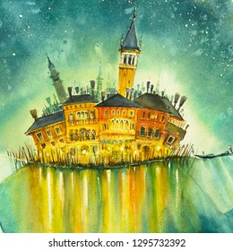 Abstract island. Architecture of Venice at night ,Italy. Picture created with watercolors.