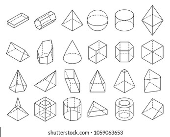 Abstract isometric 3d geometric outline shapes set. 3d isometric geometric shape cube and sphere illustration