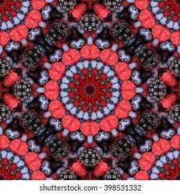 Abstract kaleidoscope background. Beautiful kaleidoscope seamless pattern. Multicolored mosaic texture. Seamless kaleidoscope texture. Unique kaleidoscope design made from fruits.