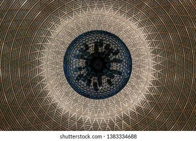Abstract kaleidoscope background. Beautiful kaleidoscope texture. Modern Backgrround. Beautiful Mandala. Circle Caligraphy. Masjid Istiqlal