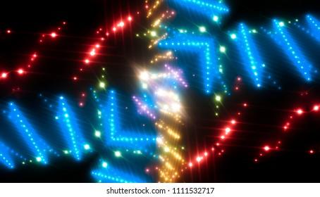 Abstract kaleidoscope blue lights background. illustration digital.