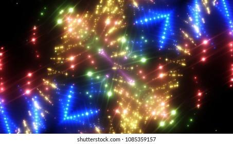 Abstract kaleidoscope gold lights background. illustration digital.