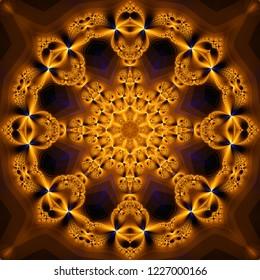 Abstract kaleidoscope golden background. Bright flower. Illustration seamless