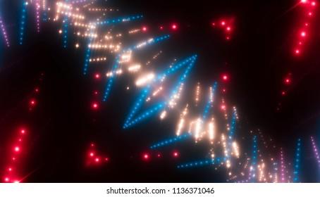 Abstract kaleidoscope multicolor lights background. illustration digital.