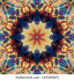 Abstract kaleidoscope multicolored background. Bright flower. Illustration seamless pattern for design.