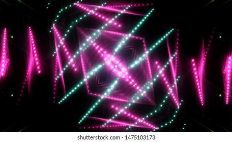 Abstract kaleidoscope pink lights background. illustration digital.