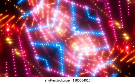 Abstract kaleidoscope red lights background. illustration digital.