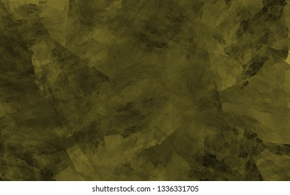Abstract khaki background. Yellow and dark green lines, shapes and spots intersect randomly in the frame.