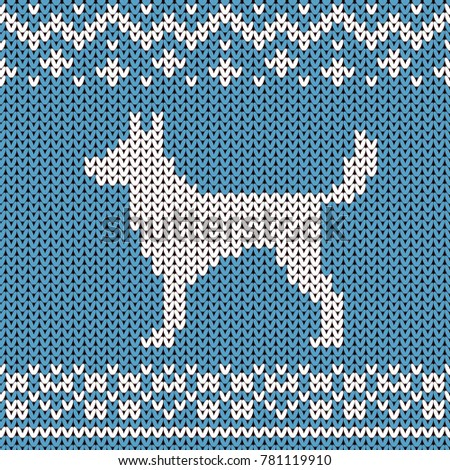 Abstract Knitted Dog Seamless Pattern Background Stock Illustration