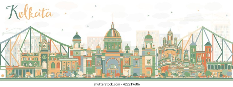 Abstract Kolkata Skyline with Color Landmarks. Business Travel and Tourism Concept with Historic Buildings. Image for Presentation Banner Placard and Web Site.