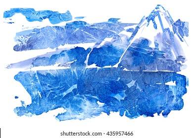 Abstract landscape with mountains.Watery background.Watercolor hand drawn illustration.Wet splash.