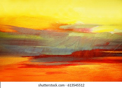 abstract landscape oil painting on canvas for interior, illustration