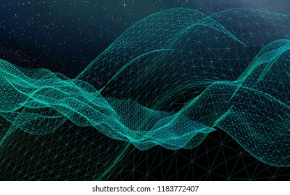 Abstract landscape on a dark background. Star horizon. Cyberspace grid. Hi-tech network. Outer space. Starry outer space texture. 3D illustration