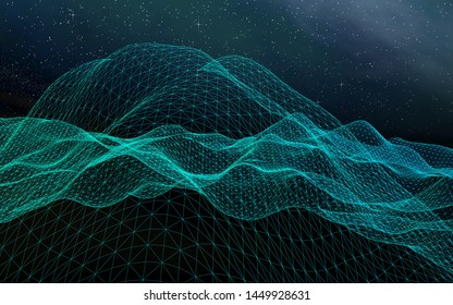 Abstract landscape on a dark background. Cyberspace grid. hi tech network. Outer space. Starry outer space texture. 3D illustration