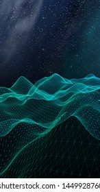 Abstract landscape on a dark background. Cyberspace grid. hi tech network. Outer space. Vertical orientation. Starry outer space texture. 3D illustration